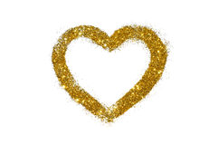 Abstract heart of golden glitter sparkle on white Stock Image