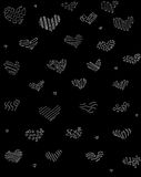 Abstract hearts hand drawn in white line art on black background Royalty Free Stock Photos