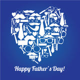 Abstract heart. Abstract happy father's day heart on blue special background Stock Photos