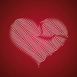 Abstract heart icon, wave lines vector. Design Royalty Free Stock Images