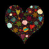 Abstract heart. Illustrated dark background with heart of various colored elements Stock Images