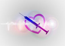 Abstract heart with injection. Injection in the abstract heart Stock Photo
