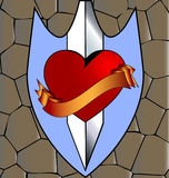 Abstract heart and knife royalty free illustration