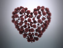 Abstract heart. Mad of small red spheres Stock Photos