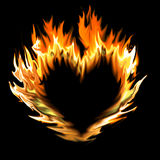 Abstract heart made of flames. On black Stock Photos