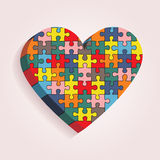 Abstract heart made of puzzle pieces. Vector. Illustration Eps 8 Royalty Free Stock Photo