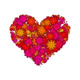Abstract heart made of red flowers. Isolated on white background. Illustration Royalty Free Stock Photos
