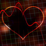 Abstract Heart Monitor On A Dark Red Background. Royalty Free Stock Photo