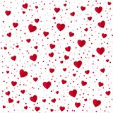 Abstract heart pattern background. Paper red hearts and dots isolated on white. Valentines Day background. Vector illustration stock illustration