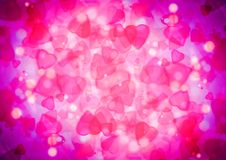 Abstract heart pink purple bokeh wallpaper Stock Photo