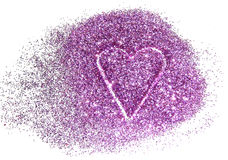 Abstract heart of purple glitter sparkle on white background Stock Photos