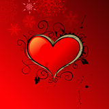 Abstract heart on red background Royalty Free Stock Image