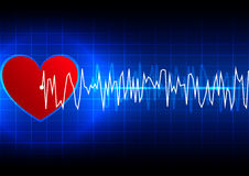 Abstract heart rhythm ekg technology background Stock Images