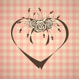 Abstract heart with roses on vintage background Royalty Free Stock Photos