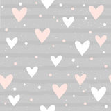 Abstract heart seamless pattern background. Hand drawn geometric Royalty Free Stock Image