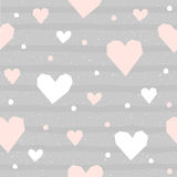 Abstract heart seamless pattern background. Hand drawn geometric Royalty Free Stock Images