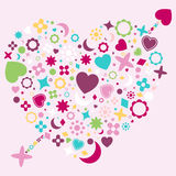 Abstract Heart Shape. An illustration of an abstract heart shape with cupid\'s arrow through it, made up from various colorful symbols. Background placed on Royalty Free Stock Images