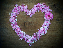 Abstract heart shape from flower on wood texture background Royalty Free Stock Photos
