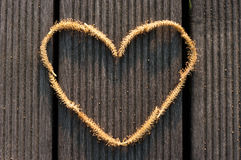 Abstract Heart shape made of a Willow male flower. On the wooden floor Stock Images