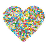 Abstract Heart Shaped Colourful Vector Confetti Heap on White Ba. Ckground - Dots, Polka Dots, Points, Symbol, Icon vector illustration