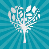 Abstract Heart Shaped Tree. On Blue Retro Background Royalty Free Stock Images
