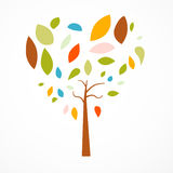 Abstract Heart Shaped Tree. On White Background Stock Photos