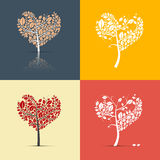 Abstract Heart Shaped Trees on Retro Background. Abstract Heart Shaped Trees Set on Retro Orange, Red, Yellow and Blue Backgrounds Stock Photography