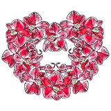 Abstract heart sign made from Phalaenopsis orchid flowers Stock Images