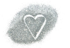 Abstract heart of silver glitter sparkle on white background Stock Photos