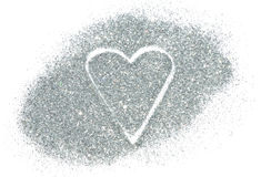 Abstract heart of silver glitter sparkle on white background Royalty Free Stock Image