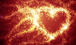 Abstract heart of sparks. And the lights on a dark background Stock Image
