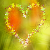 Abstract heart stars postcard, colorful background. Abstract colorful background with heart formed by stars. A colorful creative background with heart shape Royalty Free Stock Photography