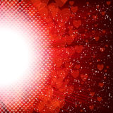 Abstract heart and stars on a red background Royalty Free Stock Images