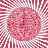 Abstract heart on sunburst background . Vector illustration. Disco ball for Valentines Day. Love concept. Cute happy wallpaper. Go Stock Photo