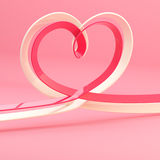 Abstract heart symbol made of ribbon. Abstract background of a heart symbol made of pink ribbon Royalty Free Stock Photography