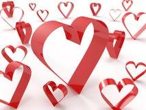 Abstract heart symbols randomly spread around Royalty Free Stock Images