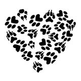 Abstract heart from traces of pets. On white background stock illustration