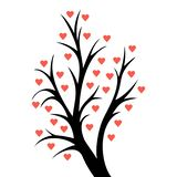 Abstract heart tree. Valentine tree with hearts. isolated on white backgroundn stock illustration