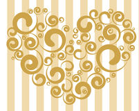 Abstract heart vector. Golden abstract heart vector on striped background Royalty Free Stock Image