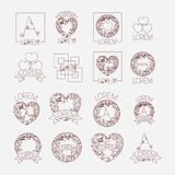 Abstract heart vintage banner icon set monochrome silhouette. Vector illustration vector illustration