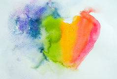 Abstract heart, watercolor hand drawn Stock Photo