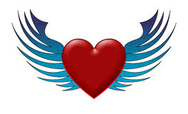 Abstract heart with wings Stock Photo