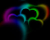 Abstract Hearts. Abstract blurred heart shapes in space. Valentine`s day theme Stock Photos