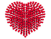 Abstract hearts arrange in heart shape, 3d rendered,  on white background Royalty Free Stock Photos