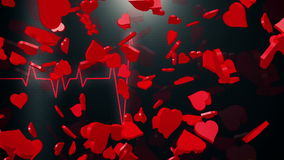 Abstract Hearts on black ECG line stock video footage