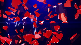 Abstract Hearts on blue ECG line stock video footage