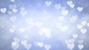 Abstract Hearts Bokeh Blue Background. stock footage