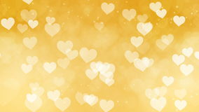 Abstract Hearts Bokeh Gold Background. stock footage