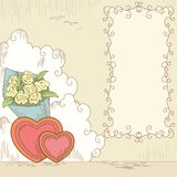 Abstract hearts with bouquet flowers and banner Stock Images