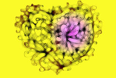Abstract from hearts, curls and floral ornaments Stock Image